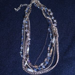 "Mulit Strand Gem, bead and Chain 17-20"" Necklace"